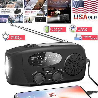 Emergency Solar Hand Crank Dynamo AM/FM/WB Weather Radio LED Torch USB Charger