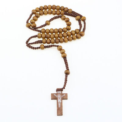 Catholic Rosary Christ Wooden Beads Cross Woven Rope Necklace Light Brown 55-3