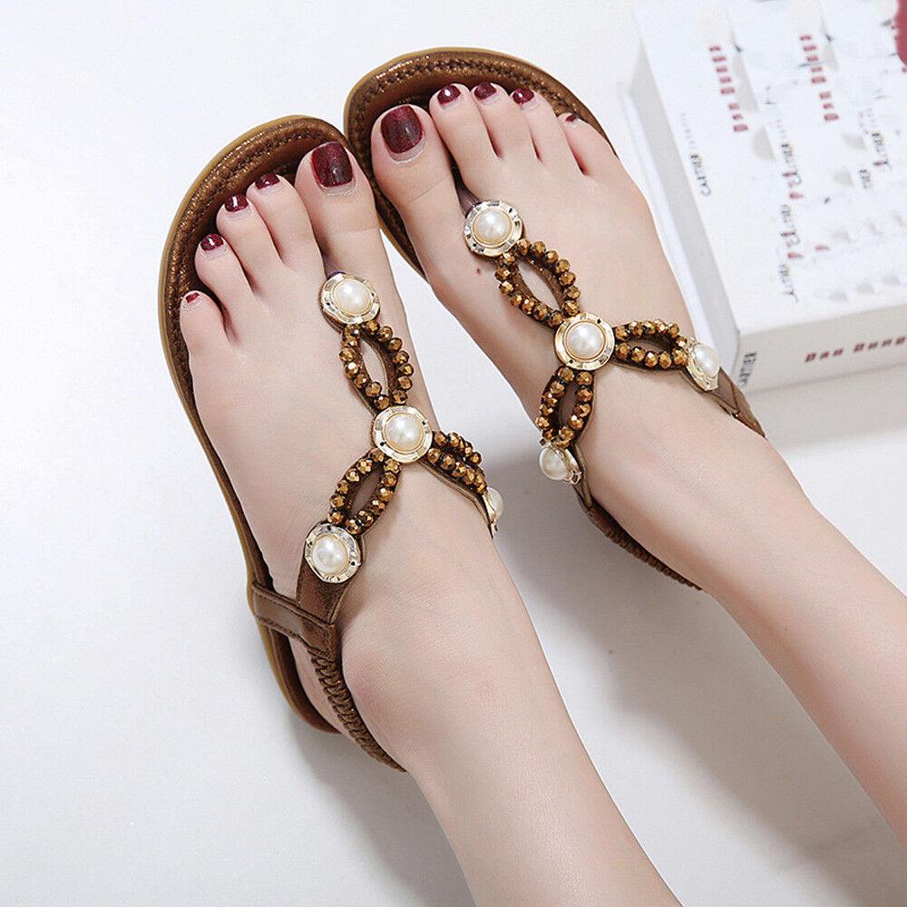 Women Sandals Beaded Diamond Pearl Flat Shoes Uutside Large Size Beach Shoes