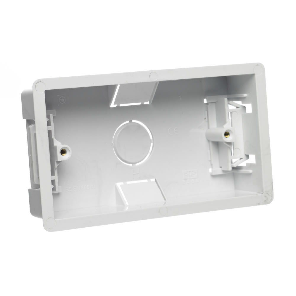 25mm Wall Pattress Back Box for 13 Amp Socket Single or Double 2 Gang Twin