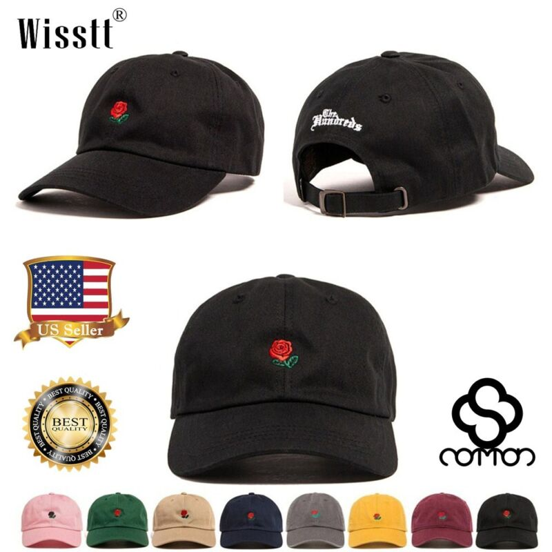 USA Hundreds Dad Hat Flower Rose Embroidered Curved Brim Bas