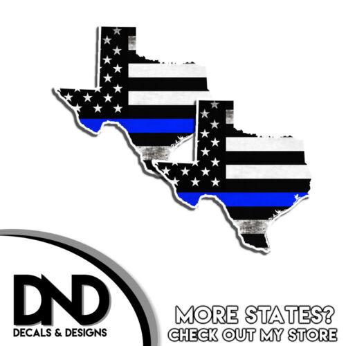 Texas HELMET Decal Police Blue Line TX Tattered American Flag Sticker 4 Pack