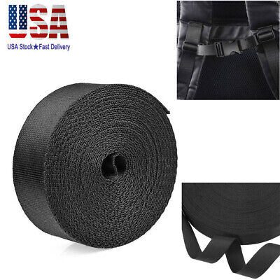 - 1 Inch Wide 10 Yards Black Nylon Heavy Webbing Strap 3500Lbs Tensile Strength