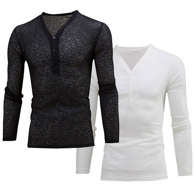 Casuals Long Sleeve Tee (Men's Deep V Neck Summer Long Sleeve T-shirt Basic Tee Shirt Casual Slim Fit Top)