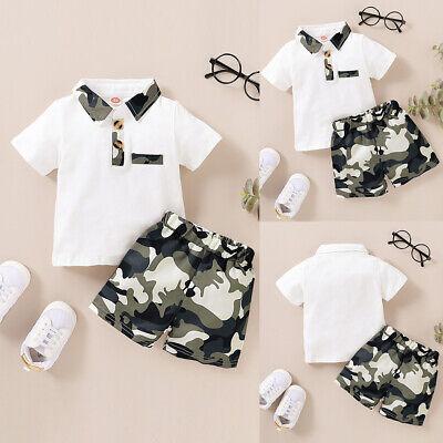 Newborn Baby Boys T-shirt Tops Camo Pants Shorts Clothes 2PCS Set Outfits Summer