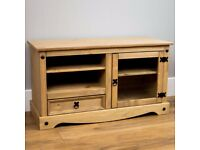 Corona Solid Pine Mexican Living Room Waxed Furniture TV Stand Entertainment Unit
