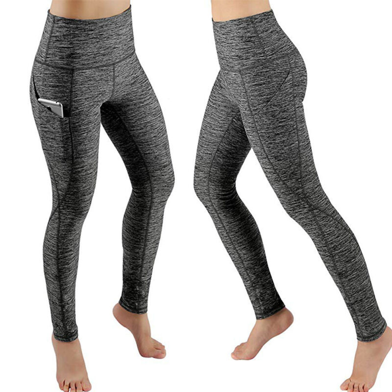 Women High Waist Yoga Leggings Pocket Pants Fitness Sport Gym Workout Athletic G 6