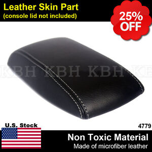 Leather Armrest Console Lid Cover Skin Fits 2014-2017 Toyota Corolla Gray Stitch