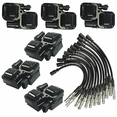 New Ignition Spark Coils with Plug wire sets For Mercedes-Benz C CL CLK ML Class