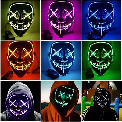 LED Glühend leuchtet EL Draht Horror Party Halloween Maske Kostüm Cosplay - El Draht Kostüm