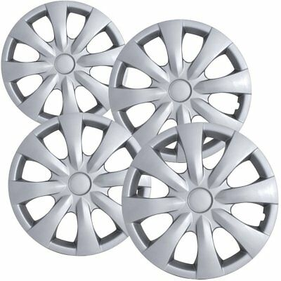 """4 PC Hubcaps Fits 09-16 Toyota Corolla 15"""" Silver Replacement Wheel Rim Cover"""