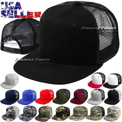Trucker Hat Mesh Baseball Snapback Cap Adjustable Flat Plain Blank Hip Hop Mens