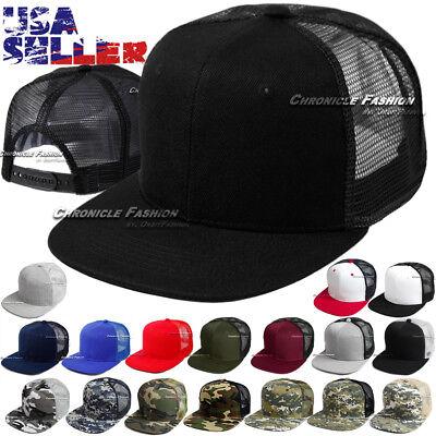 e63bcdbf5e292 Trucker Hat Mesh Baseball Cap Snapback Adjustable Flat Visor Solid Hip Hop  Mens