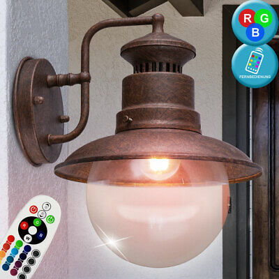 RGB LED wall lamp dimmable vintage facades outdoor lantern rust REMOTE CONTROL