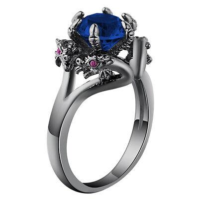 Dragon Ring Jewelry (Black Blue Dragon Goth Ring Jewelry Unique Gift Women's Girls Fashion)