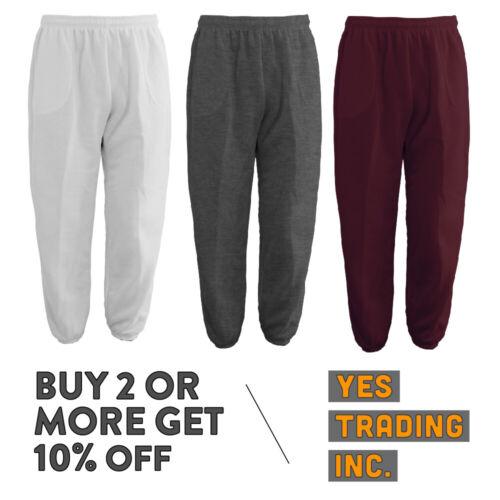 Mens Womens Unisex Plain Sweatpants 3 Pocket Casual Joggers Fleece Pants Gym