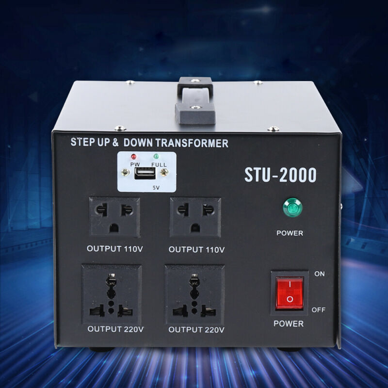 2000W Watt Voltage Converter Transformer Step Up/Down 110V to 220 Volt Converter