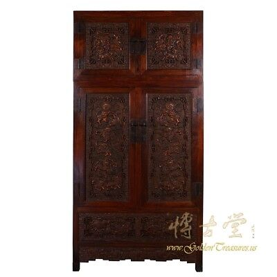 Chinese Antique Carved Camphor Wood Compound Wardrobe 17LP45