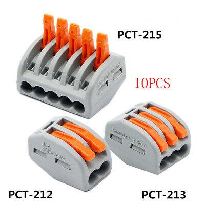 10pcs Spring Lever Nut Terminal Blocks Reusable Electric Cable Connector Block