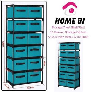 NEW Homebi Storage Chest Shelf Unit 12-Drawer Storage Cabinet with 6-Tier Metal Wire Shelf and 12 Removable Non-Woven...