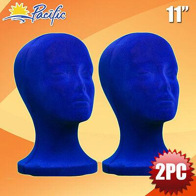 11 Styrofoam Foam Blue Velvet Mannequin Manikin Head Display Wig Hat Glasses