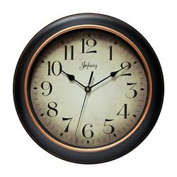 Infinity Instruments 14877BG-2732 Hanover Black Case with Rose Gold Accent Clock