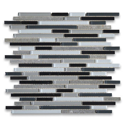 Grey Black White Glass Mix Slate Stainless Steel Linear Brick Mosaic Tile A79002