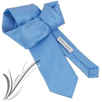Cravatta azzurra da uomo elegante quadri business eventi classica fantasia 2020