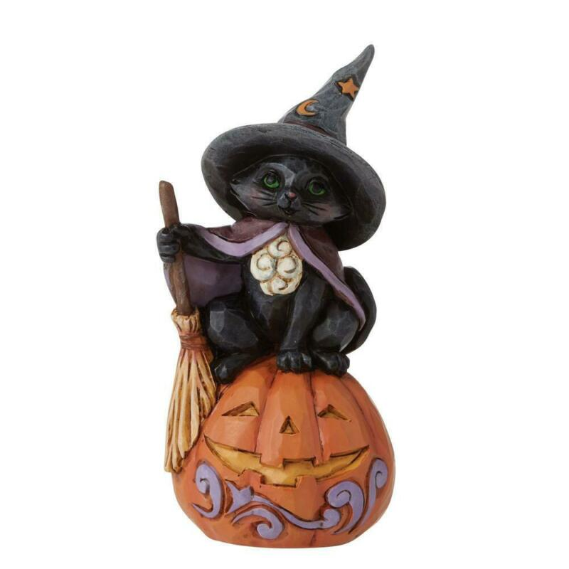Jim Shore Mini Black Cat on Pumpkin Halloween Miniature Figurine 6009515