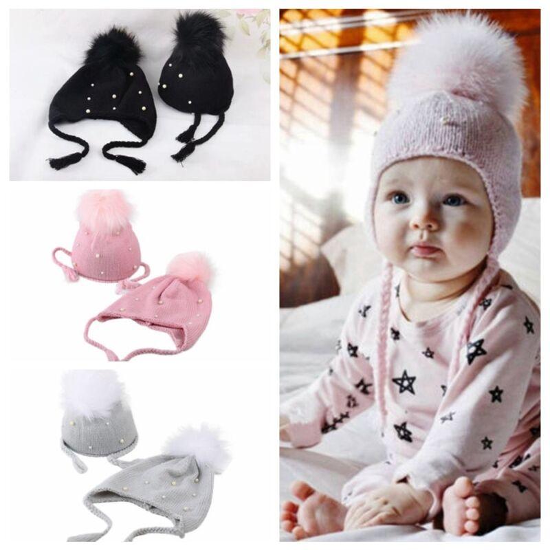 Baby Boy Girls Hair Ball Earbud Hat Children Crochet Winter Warm Knit Hats Cap