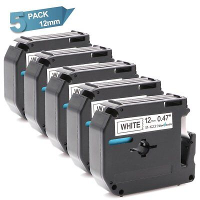 Brother M-k231 P-touch M Tape Work With Pt-65 Black On White 12mm Label Tape 5pk