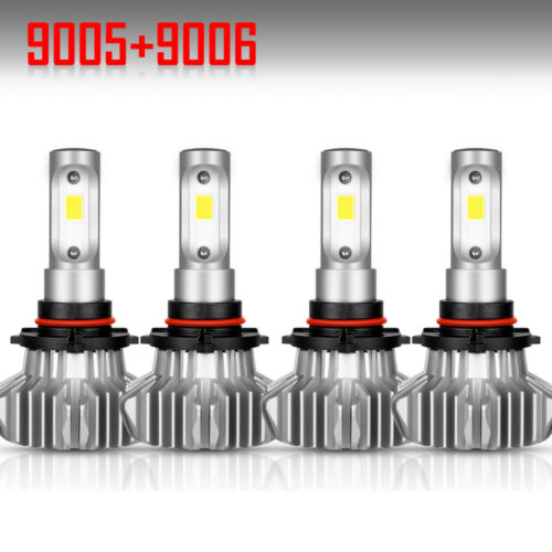 4PCS 9005 9006 LED Total 3600W Combo Headlight Kit Bulbs 6000K White Hi-Lo Beam