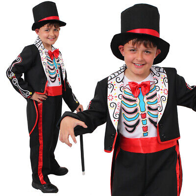 BOYS DAY OF THE DEAD SUIT COSTUME HALLOWEEN SCARY SUGAR SKULL CHILDS FANCY DRESS