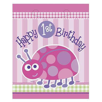 8 Pink Ladybug Girls Happy 1st Birthday Party Plastic Treat Gift Loot Favor - Ladybug Treat Bags