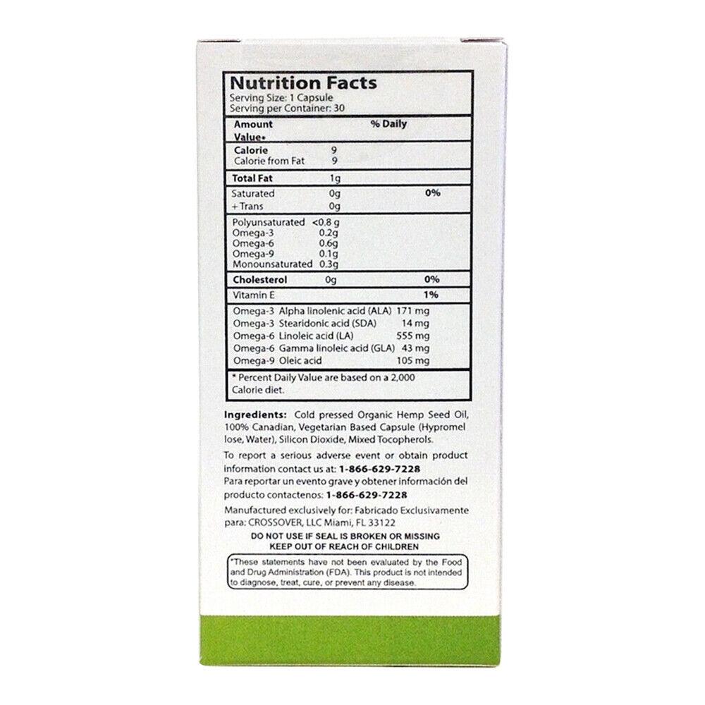 Knadix Hemp Oil. Rich Dietary Supplement. Non-Saturated Fatty Acids. 30 Caps. 3