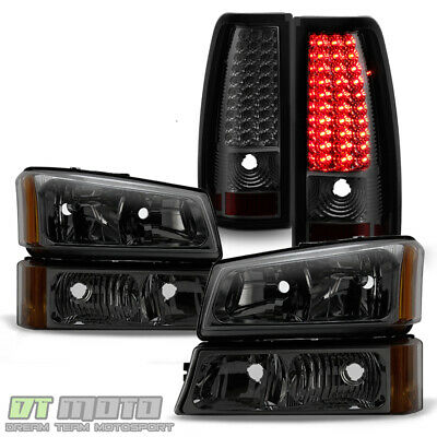 Smoke 2003-2006 Chevy Silverado 1500 2500 3500 Headlights+LED Tail Lights Lamps