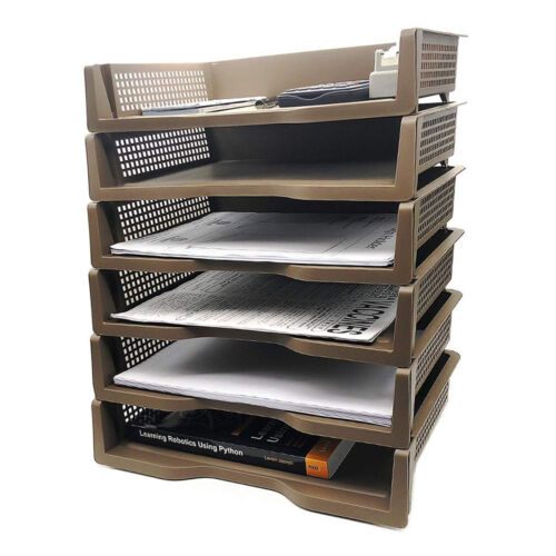 6-Tier Stackable Document Letter Tray Desktop Organizer | Brown Color