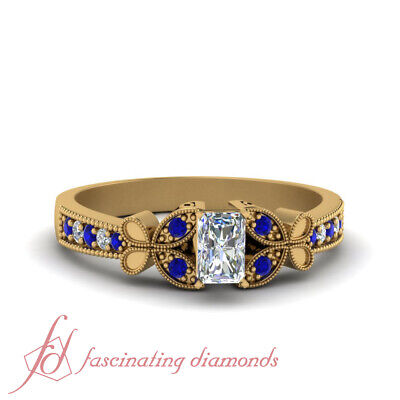1 Carat Radiant Cut Diamond And Sapphire Pave Engagement Ring In 18K Yellow Gold