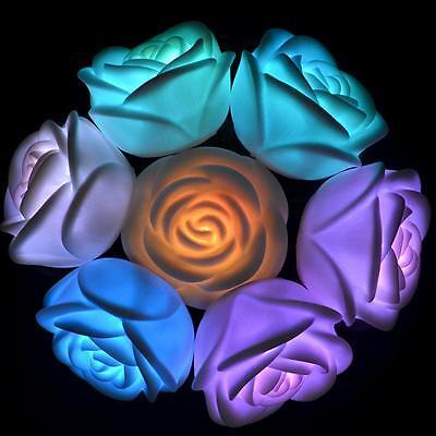 Weeding Christmas Rose Flower Light Floating  LED Night 7 Color Changing