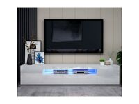 Modern TV Unit Cabinet TV Stand with Matt Body & High Gloss Doors LED