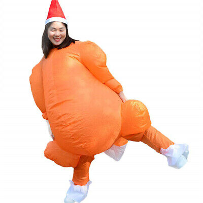 Inflatable Chicken Costume (Inflatable Turkey Costume Funny Christmas  Blow Up Mens Womens Chicken BT)