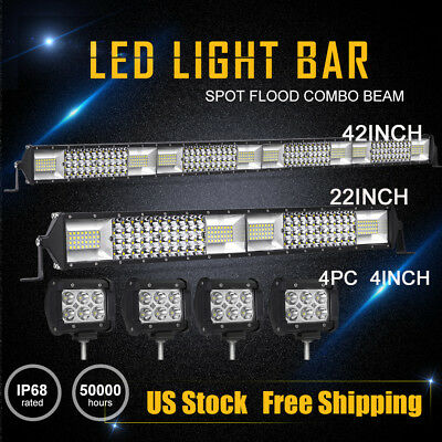 "42Inch LED Work Light Bar 4ROW Combo + 22in + 4X 4"" CREE Offroad Truck SUV 40""20"