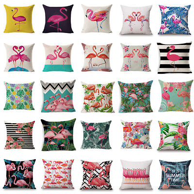 Flamingo Cotton Linen Pillow Case Throw Cushion Cover Valentine's Day Home Decor](Valentine's Day Decorations)