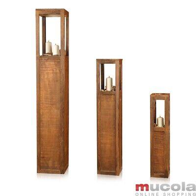 Laterne Windlichtset Windlicht Holzlaterne Säulen Kerze 3 tlg Set Landhaus Braun gebraucht kaufen  Alfeld