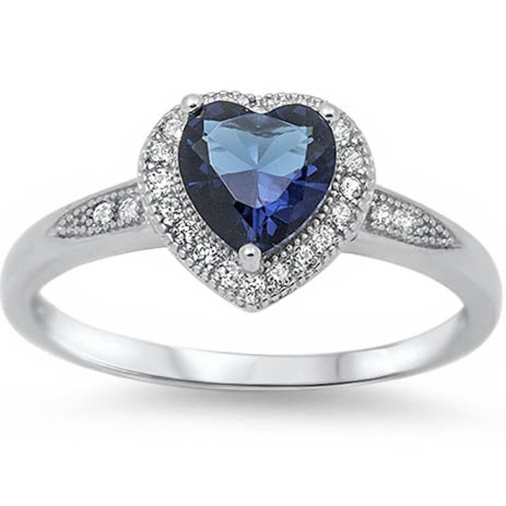 halo style cut sapphire promise ring 925 sterling