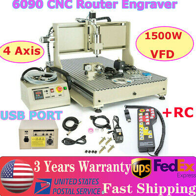 1500w Usb 4 Axis 6090 Router Engraver Engraving Drill Milling Machinecontroller