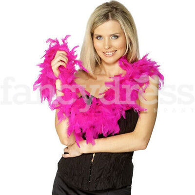 Hot Pink Feather Boa 1.9 Metres Hen Night Rave 20s 30s Fancy Dress Party - Hot Pink Boa