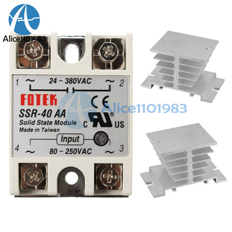 SSR-40AA 40A Solid State Relay Module 80-250V AC / 24-380V AC + Heat Sink