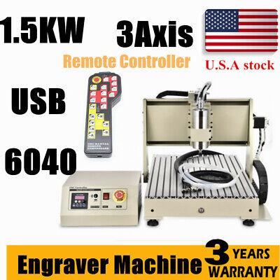 3axis Usb Port 1500w 6040cnc Router Engraver 3d Engraving Milling Machineremote