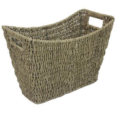 JVL Seagrass Newspaper Magazine Storage Basket Rack with Handles